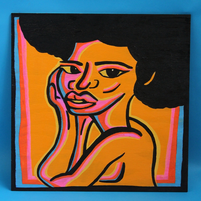 I created these paintings to celebrate what Black women are naturally born with. Beautiful hair, bodies, & minds filled with Love & Knowledge. I created these paintings to highlight my sistas- to know we are highly respectable and mesmerizing.